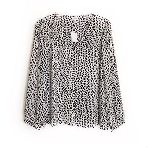 J. Crew NWT Long Sleeve Polka Dot Blouse